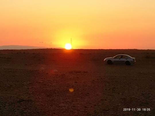Sun set in the desert.