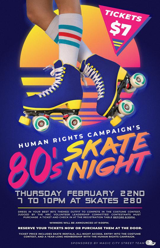 HRC's 80's Skate Night Flyer